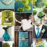 Décoration de mariage vert & bleu